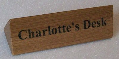 Solid Oak Personalised Triangular Desk Signs